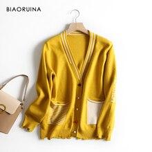 Biaoruina 여성 한국어 스타일 편지 줄무늬 자카드 캐주얼 가디건 여성 싱글 브레스트 느슨한 패션 니트 스웨터