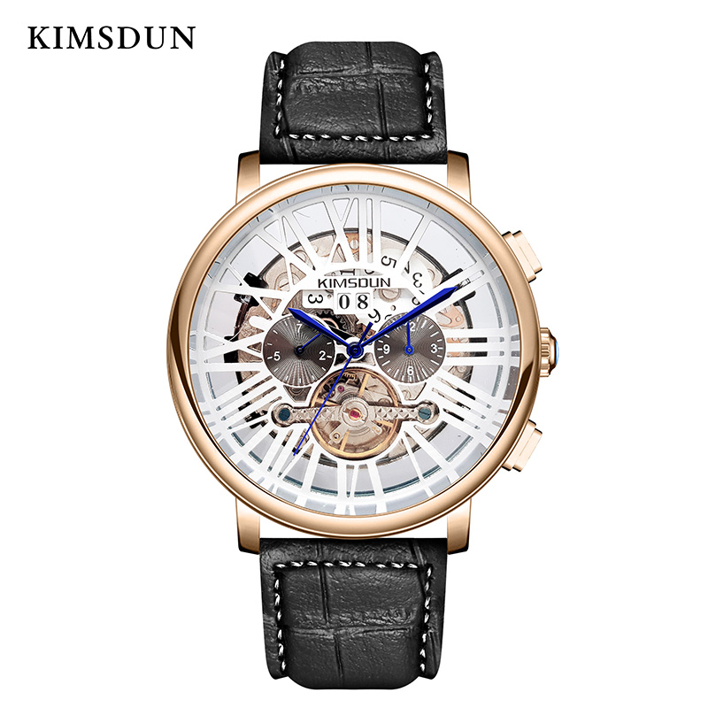 KIMSDUN New Top Brand Luxury Relogio Masculino Watch Mens Tourbillon Automatic Mechanical Multi functional Men Watch Three eye in Lover 39 s Watches from Watches