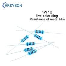 20 pces 1w conjunto de filme de metal de resistência 0r-22m 1% tolerância 27k 36k 75k 120k 180k 270k 390k 510k 1m 3m 10 ohm resistência eletrônica