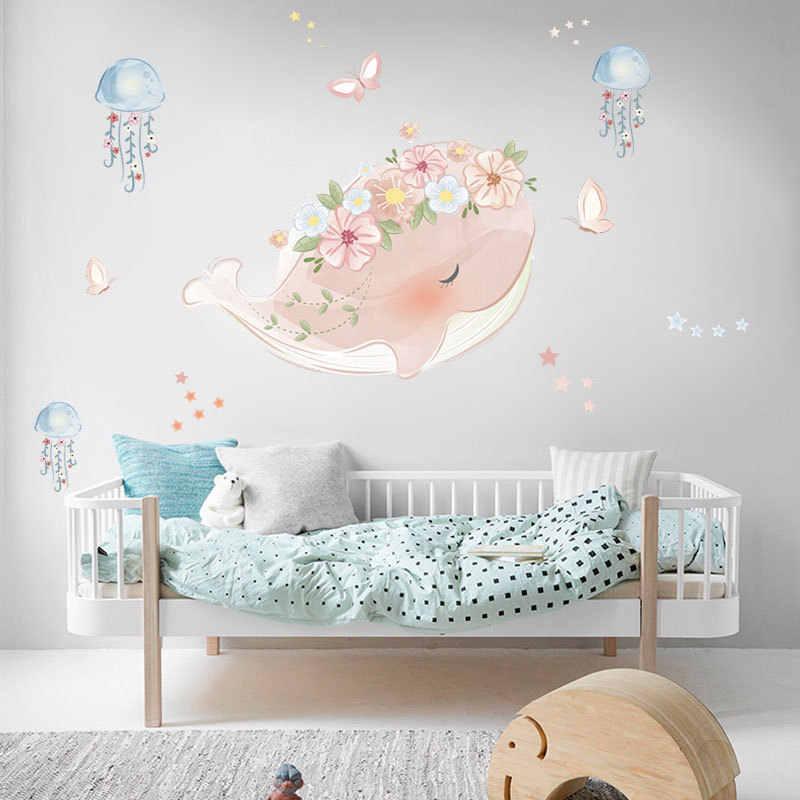 Милый Розовый Кит венок Медузы настенные стикеры детские комнаты спальни гостиной украшения росписи для домашнего декора наклейки обои