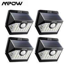4 pacote mpow 30 led solar jardim sensor de movimento luzes ao ar livre lâmpada 3 modos de iluminação 270 grande angular luz solar led para exterior