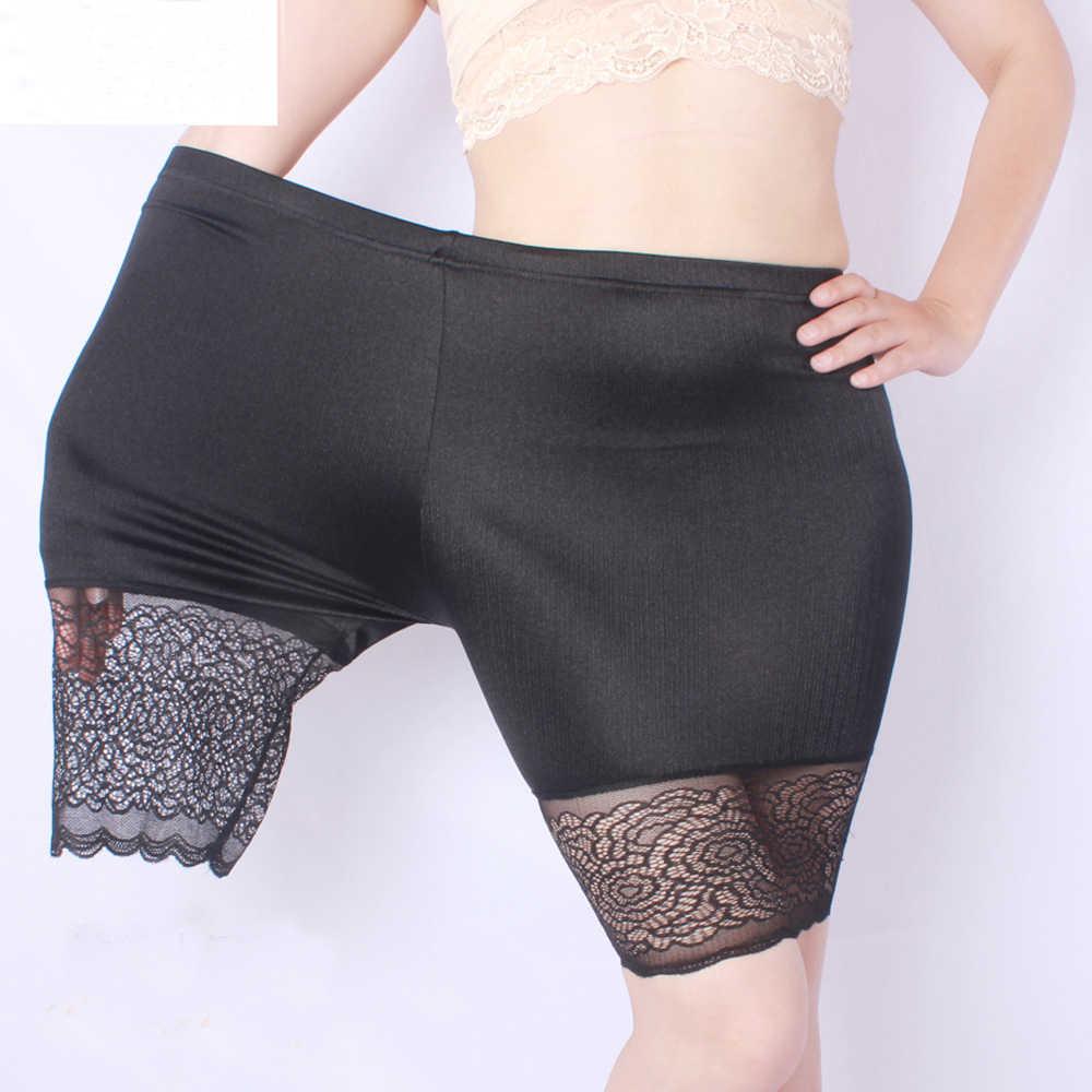 2020 קיץ בתוספת גודל בטיחות קצר מכנסיים תחרה צד גדול גודל XXXXL Chinlon חם מכנסיים עבור 60-120kg נשים