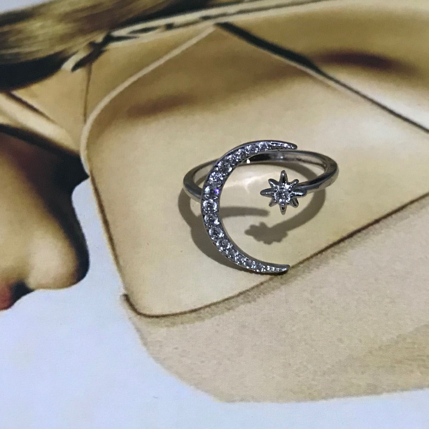Classy Crescent Crystal Ring 4