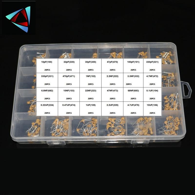 24 значения * 20 шт. = 480 шт. монолитный керамический конденсатор 10 пФ ~ 10 мкФ, керамический конденсатор, набор в ассортименте + коробка