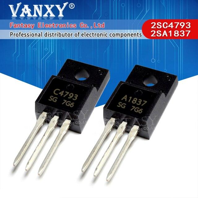 10PCS 5 זוג 5pcs 2SC4793 TO220 5pcs 2SA1837 כדי 220 C4793 A1837 230V 1A כל מקורי וחדש