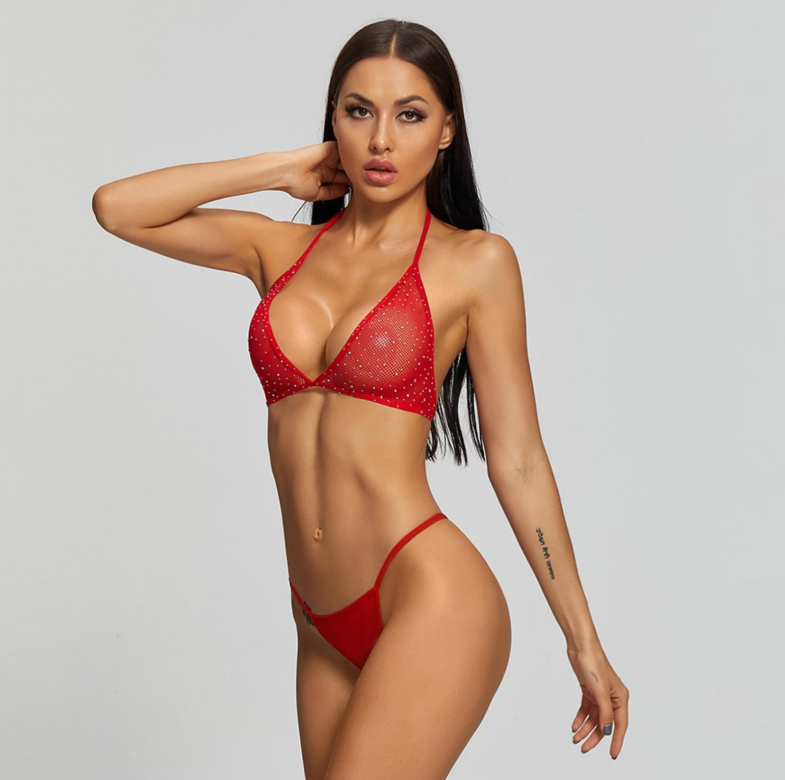 New Sexy Mesh Lace Women Sheer Rhinestone Top Thong Fishnet Lingerie Set Christmas Sexy Glamorous Seductive Red Fashionable
