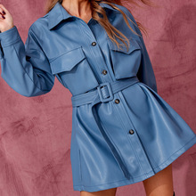 Blue Soft Leather Jacket Dress Short Dress With Belt Women Oversized Streetwear Jacket Clothing Single Buckle Autumn Winter Outf
