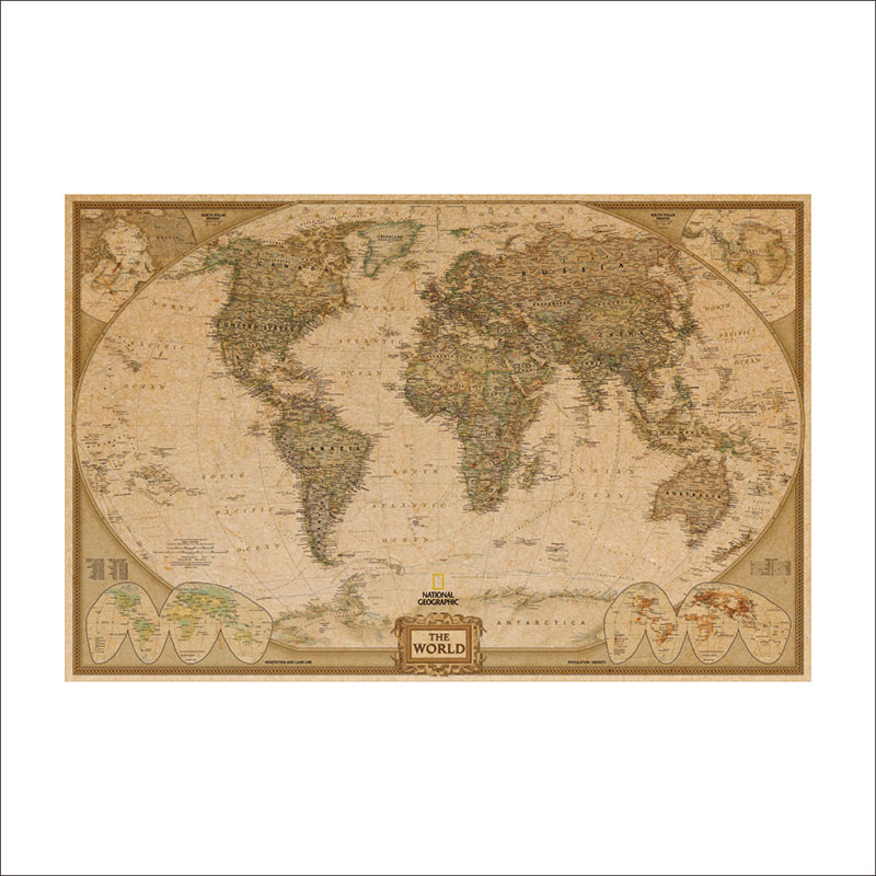 Living Room Poster Classic Retro Kraft Paper Wall Sticker English World Map Cafe House Decoration Detail Retro Poster Wallpaper image