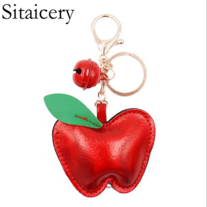 Sitaicery New Arrival Novelty Souvenir Leather Apple Key Chain Creative Gifts Keychain Bell Ring Trinket Car