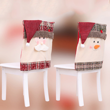 Christmas Chair Covers Santa Snowman Dining Kitchen Party Decor Slip Claus Square chair