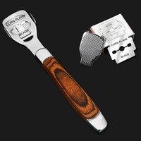 10 klingen Fuß Pflege Pediküre Kallus Rasierer Harte Haut Entferner Holz Griff Edelstahl Austauschbare Hause Fuß Rasiermesser-in Elektronische Fuß-Dateien aus Haushaltsgeräte bei