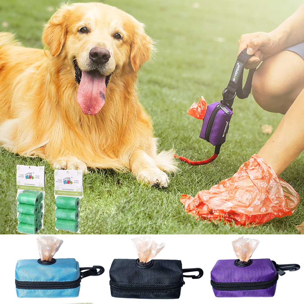 Portable Dog Poop Waste Bag Dispenser Pouch Pet Puppy Cat Pick Up Poop Bag Holder Outdoor Pets Supplies Garbage Bags Organizer