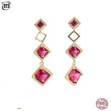 цена на Vintage 925 Sterling Silver Red Rhombus Zircon Earrings for Women Fashion Sterling Silver Shiny Crystal Drop Earrings Jewelry