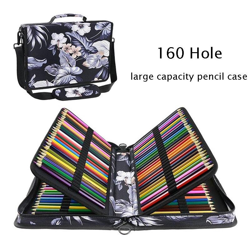 160 отверстие, многослойный Чехол для карандашей с рисунком, многофункциональная сумка для карандашей, ручка для хранения, занавеска, канцел...