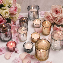 Glass Candle Holders Table Tealight Birthday Party Bar Tea Light Holder Windproof Candle Cup Cafe Bougeoir Home Decoration FC147