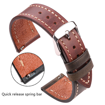 Cowhide Watchbands Women Men 4 Colors Genuine Leather Watch Strap 18mm 20mm 22mm 24mm Vintage Wrist Band Strap For Galaxy Watch
