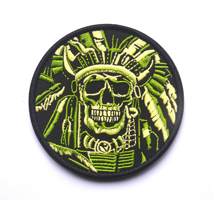 Supply Of Goods Death Skull Embroidery Badge Velcro Bag With Cloth Label Badge Customizable