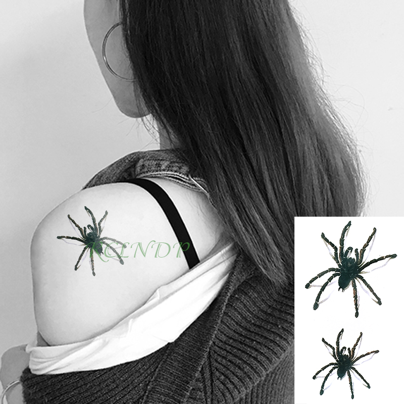 Waterproof Temporary Tattoo Sticker 3D Spider Halloween Flash Tatoo Fake Tatto Arm Wrist Foot Hand Neck For Girl Men Women Kids