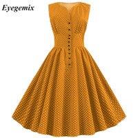 Women Summer Vintage Dress Yellow Polka Dot 50s 60s Pin Up Rockabilly Plus Size Button A line Party Dresses Vestidos De Fiesta