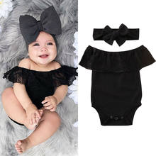 2PCS Newborn Infant Baby Girl Clothes Set Kids Lace Black Off Shoulder Bodysuit Shirt + Headband Summer Cute Outfits(China)