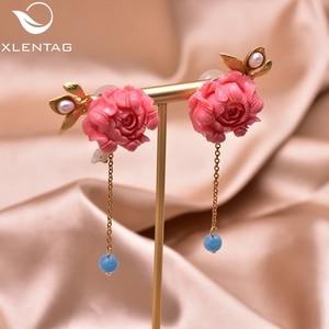 Image 2 - Xlentag天然真珠のイヤリングシルバー925sのイヤリング女性のアクセサリー結婚式の豪華なインディアンジュエリー韓国イヤリングGE0024