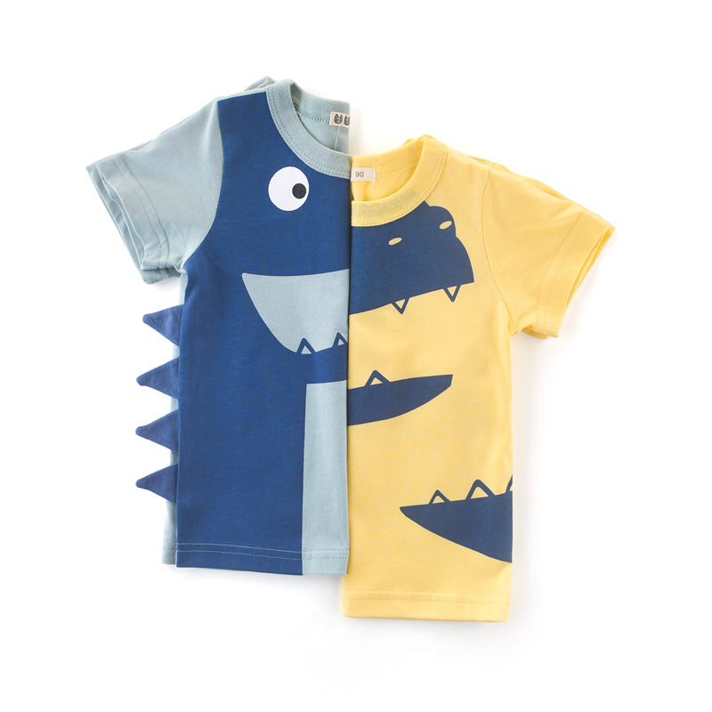 Children's Summer Pure Cotton Comfortable Clothing Fashion Casual Short Sleeve Handsome <font><b>Baby</b></font> <font><b>Tshirt</b></font> <font><b>Animal</b></font> Pattern Tops Unisex image