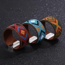 Красочные браслеты из богемного бисера, женские модные украшения ручной работы браслет на магнитной застежке