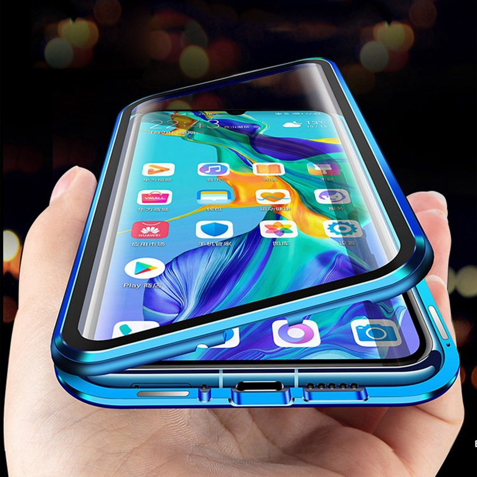 For <font><b>Huawei</b></font> <font><b>Y9</b></font> <font><b>2019</b></font>/Enjoy 9 Plus Double Sided Tempered Glass Cover For <font><b>Huawei</b></font> Nova 5 5i 4 3 Magnetic Adsorption Metal <font><b>Case</b></font> image