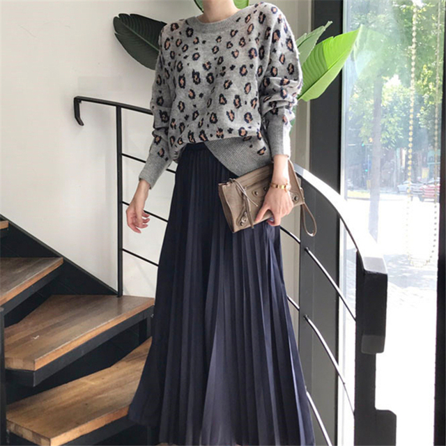 Ailegogo New 2020 Autumn Winter Women's Sweaters Pullovers Leopard Korean Style Knitted Stylish Female Jumpers SW9539 3