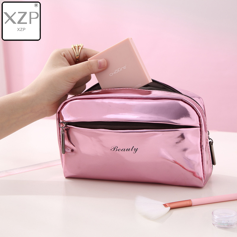 XZP 2 Size Large Capacity Cosmetic Bag PU Leather Women Beauty Organizer Pouch Female Makeup Pouch Laser Women Cosmetic Case