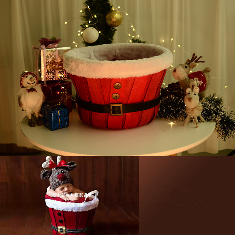 Newborn Christmas Photography Baby Props Basket Red Button Woven Frame Studio Shooting Photo Props For Newborn Photography Props