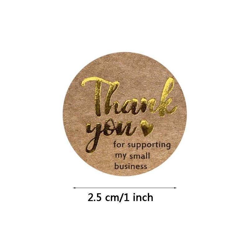 500 sztuk/rolka dziękuję za wsparcie mojej małej firmy Kraft naklejki złota folia B85C