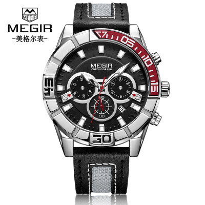 MEGIR 2019 Men Sport Quartz Fashion Leather Clock Mens Watches Top Brand Luxury Waterproof Business Wristwatch
