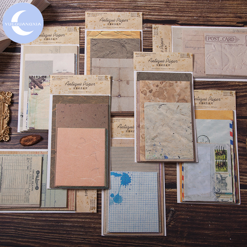 YueGuangXia Retroism Stamp Light Paper Kraft Card Journaling Bullet Scrapbooking Material Paper Album Words LOMO Cards 60pcs/lot