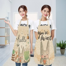 Lovely Cartoon Rabbit Printed Kitchen Aprons for Women Sleeveless Cotton Linen Cooking Apron Cleaning Tools