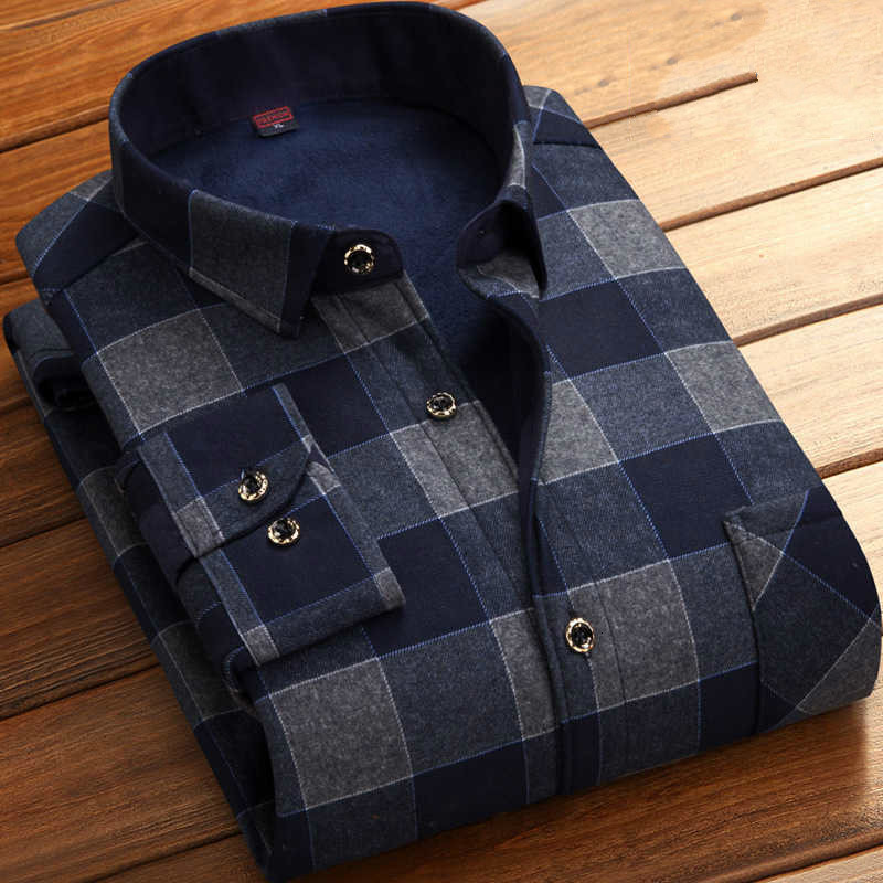 Man Thickening Increase Down Shirt Keep Warm Lattice Shirt Men's Wear Exquisite Elastic Force Long Sleeve Unlined Upper