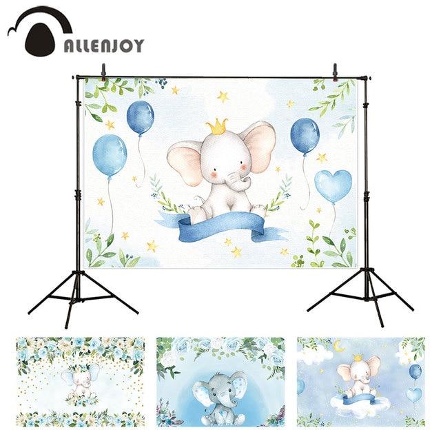 Allenjoy Fotografische Achtergrond Olifant Bladeren Ballonnen Banner Stars Baby Pasgeboren Verjaardag Photocall Fotoshoots Photozone