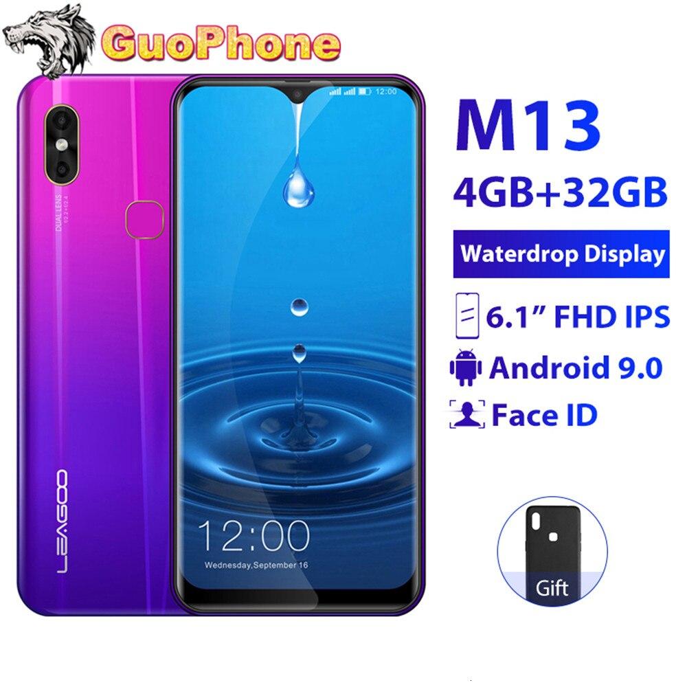 "LEAGOO M13 Smartphone 4GB RAM 32GB ROM 6,1 ""de agua pantalla Android 9,0 MTK6761 Quad Core huella dactilar cara ID 4G teléfono móvil"