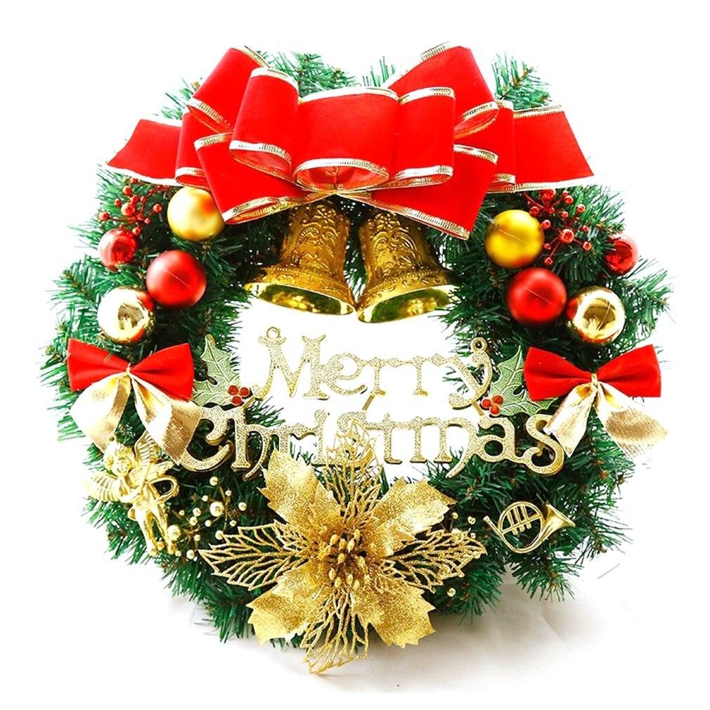 Christmas Decoration Wreath 30cm Christmas Wreath Door Hanging Christmas Gifts Christmas Vine Ring PVC Christmas Wreath