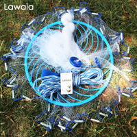 Lawaia deep hole cast net Hot Sale diameter 240CM 600CM American Style old salt cast nets Small Mesh Fishing Net with Rings