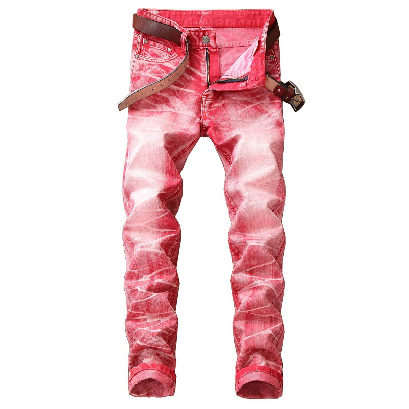 Men's Individual Fashion Jeans European And American Jeans Men's Straight-tube Retro-fashion Pants Denim Biker Ripped Jeans