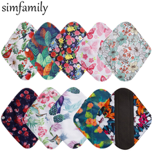 [simfamily] 10Pcs Reusable Pads Bamboo Charcoal Pads Sanitary Pads Washable Panty Liner Mama Maternity Menstrual Cotton Dads