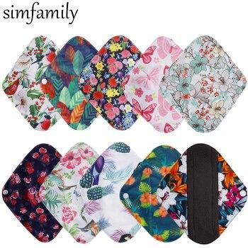 [simfamily] 10Pcs Reusable Pads Bamboo Charcoal Pads Sanitary Pads Washable Panty Liner Mama Maternity Menstrual Cotton Dads