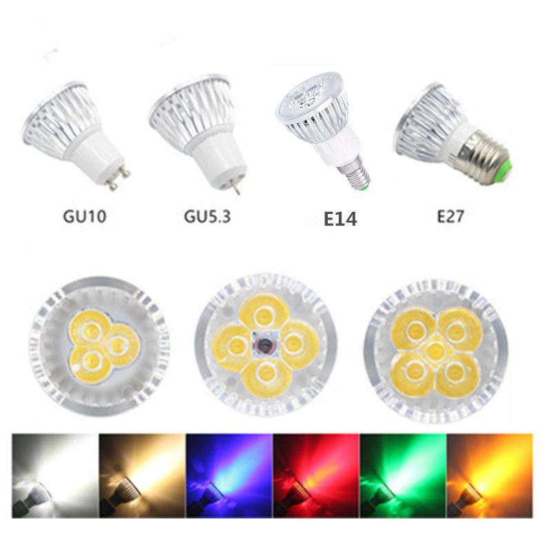 led bulb spotlight 3w 4w 5w GU10 GU5.3 <font><b>E27</b></font> E14 110V 220V cold white nature white 4000k red green blue yellow dimmable spot light image