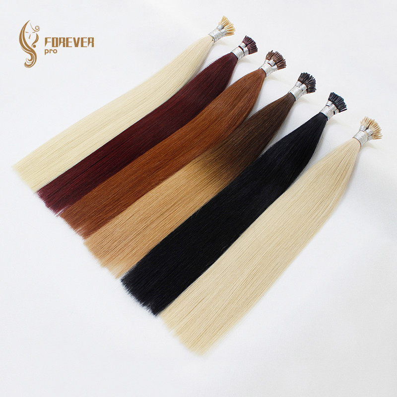 I Tip Keratin Pre bonded Hair Extensions Real Remy Russian Human Hair On The Capsule Fusion Hair 0.8g/s 16 - 20 inch 40g/pack 2