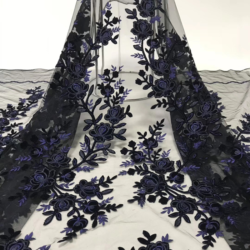 2020 New Arrival African Lace Fabric Flower Appliques Embroidered With Sequins Tulle French Lace Fabric For Women Evening Dress