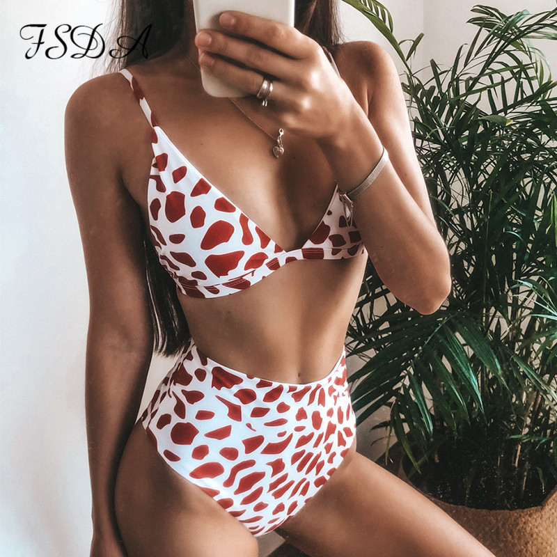 FSDA Women Summer Bikini Leopard Print Floral Push Up Swimsuit Beach 2020 Micro Bikini Set Sexy High Waist Thong Swimwear