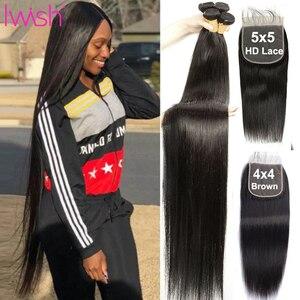 30 дюймов прямые пряди человеческих волос с 4x4 шнуровкой перуанские пряди волос с 5x5 HD закрытие 3/4 пряди с закрытием