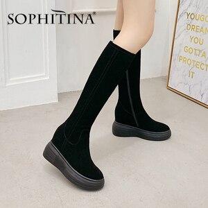 Image 2 - Sophitina Verhogen Binnen Laarzen Vrouwen Handgemaakte Lederen Koe Suede Comfortabele Elegante 2020 Winter Schoenen Nieuwe Laarzen PO373