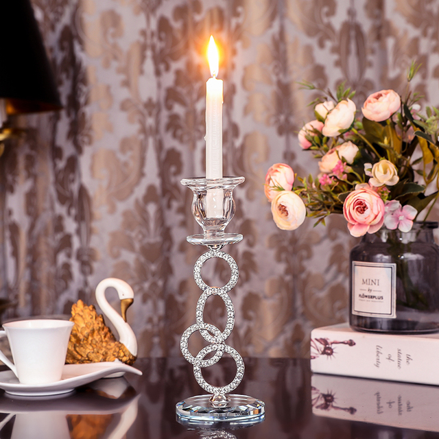 Silver Crystal Candle Holder for Dining Table,  We...